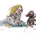 Alice e il topino, serigrafia a colori