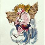 Angelo con Flauto, serigrafia a colori